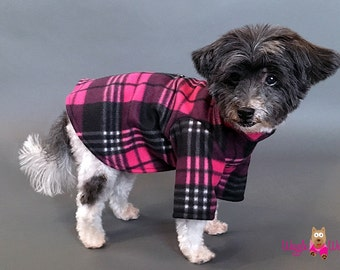 Pink and Black Dog PJs, Dog Pajamas, Fleece Dog Sweater, 2 Leg or 4 Leg Styles