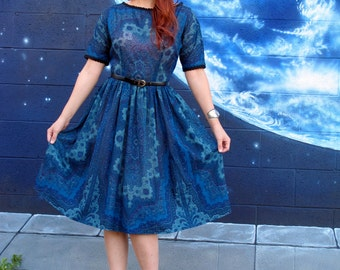 1950s detailed DRESS fractals full circle pinup lace blue black lace midi by L'Aiglon // size small