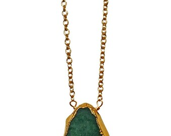emerald green freeform necklace