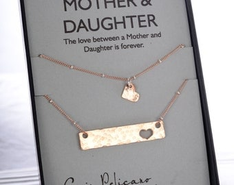 Mother Daughter Bar Necklace for Mom Mother of the Bride Mom Jewelry Set Mom Birthday Gift New Mom Gift Mom Daughter Mommy and Me Necklace