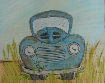 Old Trusty-1950 Pickup Truck Mixed Media Illustration