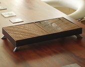 reclaimed wood and steel serving tray - butterfly tray - from salvaged roughsawn old growth fir and recycled steel - modern industrial