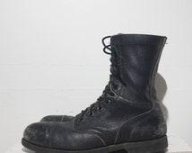 9.5 D | Men's Vintage Combat Boots Steel Cap Toe Black Leather Jump Boots