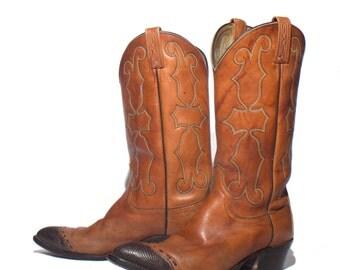 9 D | Men's Dan Post Brown Cowboy Boots Lizard Wingtip Western Boots