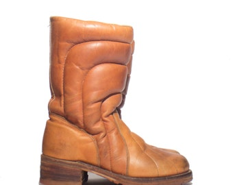 8 B | Double H Brown Leather Puffy Winter Boots