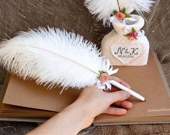 Shabby Chic Wedding Guest Book pen holder, White feather pen, Flower pen set, White Ostrich Feather Pen, Personalized wedding set