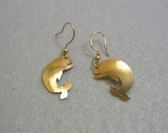 Brass Whale Cut Out Pierced Earrings