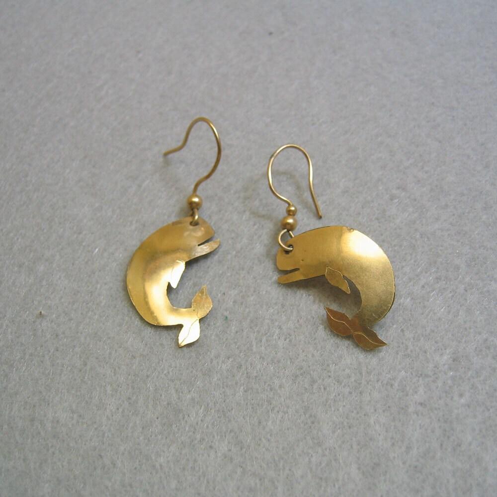 brass whale cut out pierced earrings