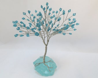 Turquoise Tree of Life, Teal and Silver Tree Wedding Cake Topper, Wire Wrapped Tree Centerpiece, Aqua Seed Bead Tree
