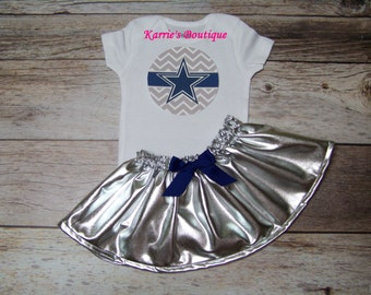 Dallas Cowboys Outfit / Onesie or Shirt + Skirt / Blue & Silver / Football /  Game Day / Infant / Baby / Girl / Toddler / Custom Boutique