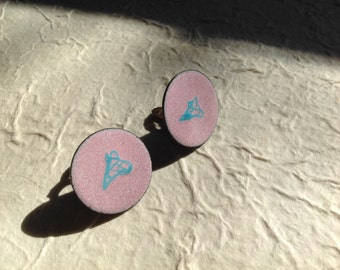 Copper Enamel Abstract Pink Clip Earrings One of a Kind