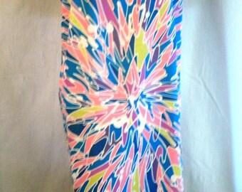 1960's Sundress Op Art Print Vintage Cotton Summer Dress Straps XL