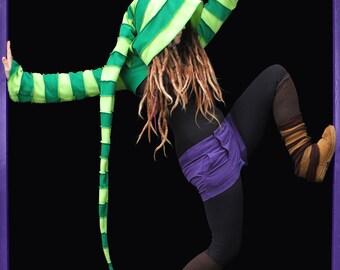2 tone Fleece 'Korrigan' Shrug- 24 stripe Ultimate pixie hood/12 Stripe Sidhe sleeves