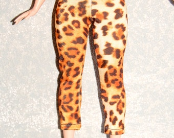 Curvy Barbie Tan leopard exercise yoga pants A4B149 fashionista fashion doll clothes READY TO SHIP