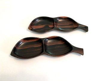 Mid Century Modern Monkey Pod Wood Leaf Trays / Dark Wood Leaf Shaped Serving Dishes / Carved Wood Spoon Rests / Made in Philippines