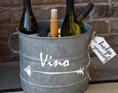 Vino Galvanized Zinc Bucket - hand painted vintage find from Europe