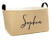 NEW! Sophia XL Burlap Storage Bin - personalized burlap basket handmade in USA