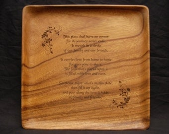 The Giving Plate, Sharing Plate , Wood Plate, Acacia Wood