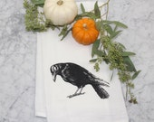 Flour Sack Tea Towel - Crow - Cotton Flour Sack Towel - Hand Screen Printed Dishcloth - Eco-Friendly Dish Towel - Halloween Decor