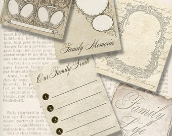"""Journal Cards """"Family"""" printable 3x4 inch junk journal family tree crafting scrapbooking instant download digital collage sheet - VDJCVI1281"""