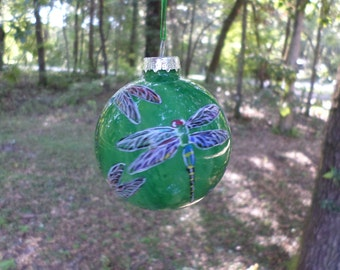 Hand Painted Glass Ornament with Dragonfly swirled green  background no244