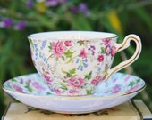 Precious ROSEINA Chintz Teacup and Saucer, Pink,Blue,Green Floral, England
