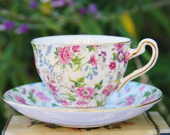 Precious ROSINA Chintz Teacup and Saucer, Pink,Blue,Green Floral, England