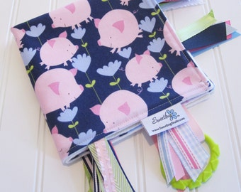 Sensory Ribbon Blanket,Lovey,Tag Blanket/Pigs and Flowers in Navy/Organic Cotton Fleece