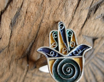 Moroccan enamel hand made hand ring with spiral   UKU    US101/4