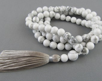 6mm white howlite 108 beads mala - white and grey mala - regular small mala