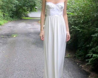 35% Off Sale! adore - ivory bamboo paired with vintage 1970's lace corset strapless maxi dress 34B small - boho chic hippie festival wedding