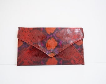 Red Snake Print Leather Clutch