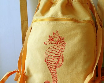 Seahorse Canvas Backpack Laptop Bag Cinch Sack