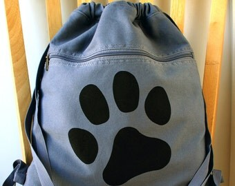 Paw Print Canvas Backpack Laptop Bag Gym Bag