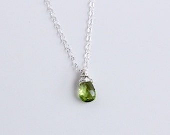 Peridot Necklace, August Birthstone Jewelry, Green Stone Necklace