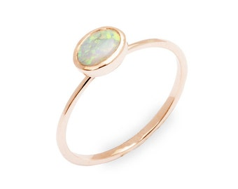 Gold Opal Ring Gold Opal Engagement Ring Gold Opal Ring Gold Thin Opal Ring non-diamond engagement ring