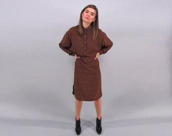 Silk Pajama Dress, Vintage 80s Shirt Dress, Sack Dress, Leopard Print Dress, Slouch Dress, Bat Wing Dress  Δ size: xs / sm