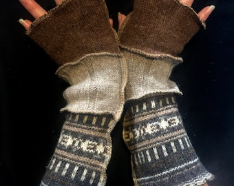 Upcycled Wool Fingerless Gloves Arm Warmers