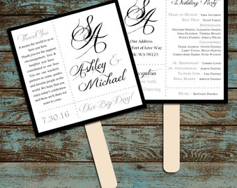 Monogram with Ampersand Program Fans Kit -  Printing Included. Wedding ceremony programs