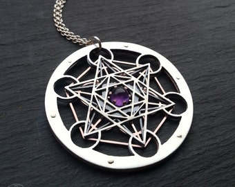 Large Amethyst Metatron's Cube Pendant - triple layer sterling silver, oxidised copper and 9ct gold - Handcrafted Sacred Geometry Jewellery