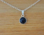 Goldstone pendant and silver chain handmade using Sterling Silver and 8 mm Sparkly midnight Blue Goldstone gemstone, lightweight and stylish