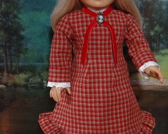 1880s Homespun dress for American Girl or similar 18 inch doll, Laura and Mary Ingalls