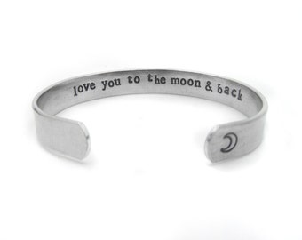 i love you to the moon and back bracelet, secret message, daughter girlfriend, friend jewelry, hand stamped jewelry, inspirational