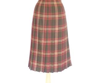 Plaid Wool Pleated Skirt. Olive Green. Vintage High Waisted Midi Skirt. Small - Medium. Made in Scotland