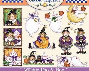 Halloween Clip art, Laurie Furnell, Witch clipart. Cute Halloween Art, Papercrafts, Scrapbooking, Halloween papercrafts, Ghost clip art