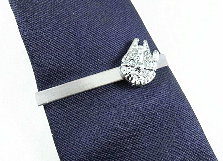 Star Wars Millennium Falcon Silver Tie Clip, Gift Box Mens Accessories Handmade