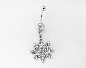 Belly Ring,  Silver Snowflake  Womens Gift  Handmade
