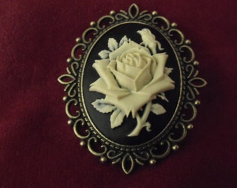 Bronze Brooch Pin ,  Victorian Rose Cameo,  Ivory On Black   Womens Brooch,  Large, Womens Gift  Handmade