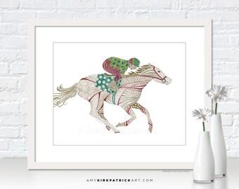 HORSE RACING Art, Horse Racing Print, Horse Racing Greeting Cards, Horse Original Art, Colored Pencil Drawing