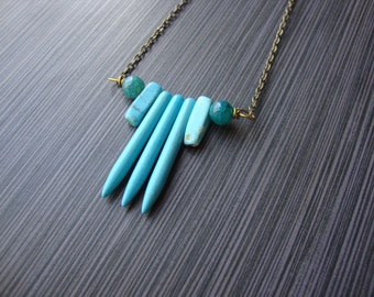 Turquoise tribal howlite spear necklace with aged brass
